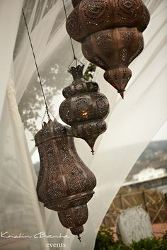 Moroccan lanterns for the pergola drapes with sarees...in my world garden