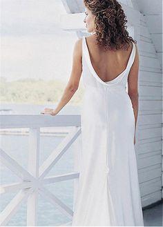 Alluring Satin V-neck Neckline Empire Waistline Sheath Wedding Dress