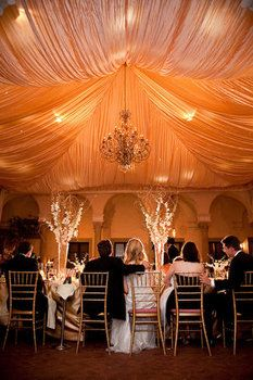 Wedding, Reception, White, Orange, Gold - love this scenery.