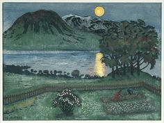 """Nikolai Astrup (Norwegian, 1880-1928) - """"May Moon"""" - Colour woodcut with hand-colouring - Bergen Kunstmuseum"""