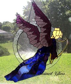 Stained Glass Panel - Angel with Harp