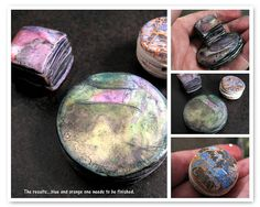 Hollow strata bead picture tute by Claire Maunsell. How to lighten up those large beads & add an interesting edge w/ a hint of Claire's color magic. #Polymer #Clay #Tutorials