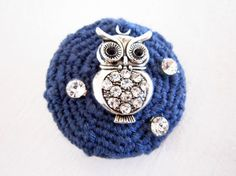 Crocheted blue jeans brooch with metal owl by JewelryNeshElly, $18.00