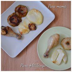 Receta BLW Muslos de pollo asados con manzana. Otra receta rápida y sencilla para esos días que no tenemos claro que hacer de comer a los peques.