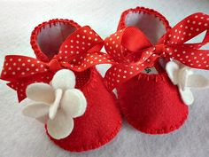 Red and white baby girl booties and toddler by FiestaKidsBoutique, $24.00