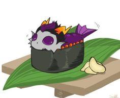 Eridan grub made into a sushi roll. That is so cute XD