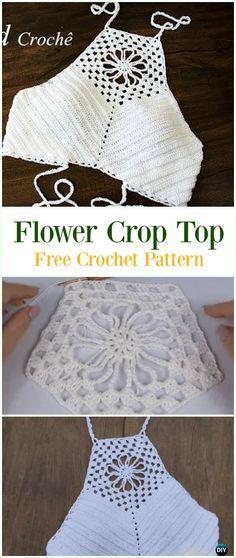 Crochet Flower Crop Top Free Pattern Video-#Crochet Summer Halter #Top Free Patterns