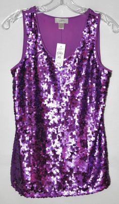 Ann Taylor Loft Purple Sequin Sleeveless Blouse Lined Sz XS NWT