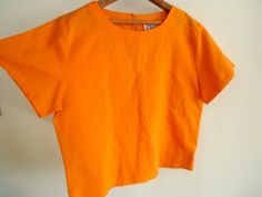 Linen // Vintage CROP TOP Women 90s 80s by GnarlyNutmeggers, $28.00
