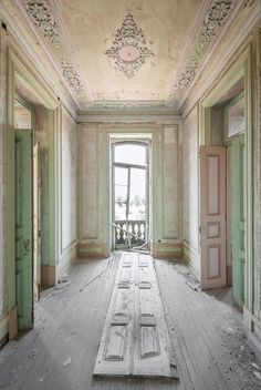 """Today in abandoned buildings porn we bring you: photos of abandoned European palaces. Photographer Mirna Pavlovic is fascinated by """"reclaiming places deemed Abandoned Buildings, Abandoned Mansion For Sale, Old Abandoned Houses, Abandoned Castles, Old Buildings, Abandoned Places, Old Houses, Abandoned Vehicles, Tiny Houses"""