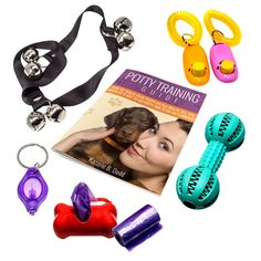 Dog or Puppy Potty Training Guide Tells How to use Housebreaking Tools: Potty Bells, Clickers, Interactive Toy Dumbbell, Waste Bag Dispenser with Refill Poop Bags   Keychain LED Flashlight ** See this great product. (This is an affiliate link and I receive a commission for the sales)