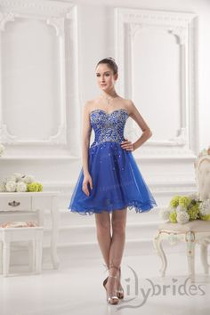 Princess Sweetheart Organza Short/Mini Length Royal Blue Homecoming Dress