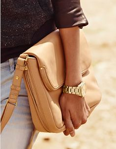 Our Preston Flap in Camel and Perfect Boyfriend Watch in gold stainless steel.