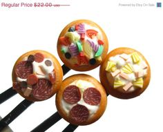 Pizza bobby pins Gift Set by YumFoodJewelry on Etsy