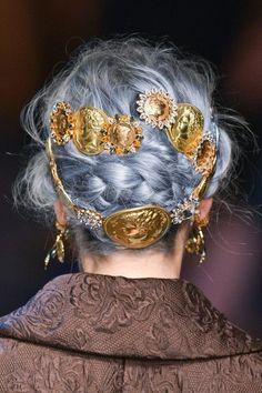 silver blue hair and gold medallion hair pins