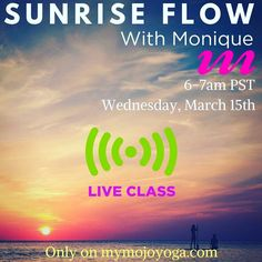 Join Monique Ducharme-Pullen ( @middleagedyogi ) for her new #Sunrise Flow #LIVE on mymojoyoga.com Wednesday March 15th @ 6-7am PST.   (3:00-4:00am HST  7:00-8:00am MT 8:00-9:00am CST 9:00-10:00am EST)    LIVE group classes are included in MOJO Membership! If you don't have yours yet start your #free trial now via Monique's channel ( http://ift.tt/2jLvBqJ ) and get instant access to our entire international instructor community 24/7!   #mymojoyoga #mojolife #yogateacher #yogalove