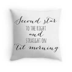 Peter Pan Pillow Case, Second Star to the Right, Inspirational Quote, White and Black, Typography, Home Decor, Throw Pillow, Nursery Decor