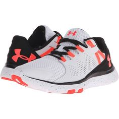 Under Armour UA Micro G Limitless TR (White/Black/Neon Coral) Women's... ($68) ❤ liked on Polyvore featuring shoes, athletic shoes, white, training shoes, cross trainer shoes, coral shoes, lightweight shoes and under armour athletic shoes