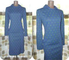 Vintage 60s 70s AMAZINGLY MOD Op-Art  Sheath Dress Periwinkle Blue & Lime Green L XL 1X