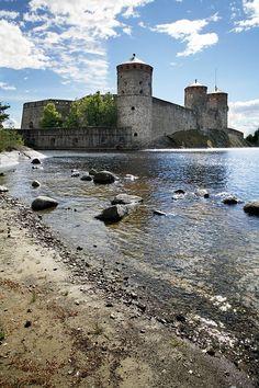Olavinlinna castle - Finland - 15th-century three-tower castle.