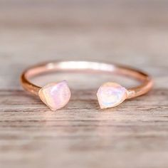 Rose Gold Little Raw Opal Ring | Bohemian Gypsy Jewels | Indie and Harper