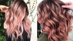Copper Rose Gold Hair, Rose Gold Hair Brunette, Ombre Rose Gold Hair, Ombre Hair, Teen Hair Colors, Hair Dye Colors, Rose Gold Balayage Brunettes, Rose Gold Baylage, Teen Hairstyles