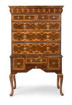 Walnut, yew, and oyster veneered chest on stand, 18th Cent.