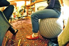 Excellent way to hide your balance ball at home!  Turn it into more seating!  myBall.co