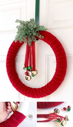 Ribbon and bell inspired Christmas wreath. The wreath is looped with red ribbon to symbolize Christmas and bells are hung in the middle to create tinkling sounds whenever you open the front door.
