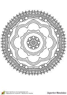 Un mandala en cercle, facile à colorier.