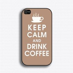 Keep Calm and Drink Coffee - iPhone 4 Case, iPhone 4s Case, iPhone 4 Hard Case, iPhone Case. $15.99, via Etsy.