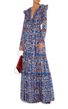 DoDo Bar Or Elvis Ruffle Long Sleeve Maxi Dress