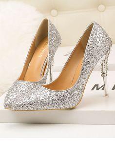 7f8e47feb5d8 Chaussures en paillette à talons hauts mode élégant femme escarpin argent