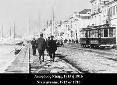 Nikis avenue of Thessaloniki at 1915 1916 Greek History, Macedonia, Thessaloniki, Crete, Amazing Destinations, Public Transport, Athens, Old Photos, Places To Visit