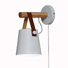 Kiven Iron Art Belt Wall Lamp UL Certification Plug-in Button Cord Lighting Round Bucket Loft Style Wall Lamp for Bathroom Dining Room Cafe Bulbs Not Included (White) Iron Art, Loft Style, Geometric Shapes, Bedroom Ideas, Sconces, Wall Lights, Dining Room, Belt, Lighting