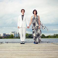 Catherine & Sue - Wedding Photography at The West Reservoir Centre, Hackney Wedding, portrait, bride, brides, water, couple, love