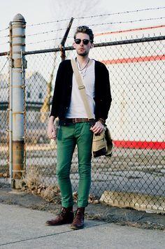 American Apparel Fine Jersey Short Sleeve V Neck, Bdg Cardigan, Vintage Leather Belt, Vintage Messenger Bag