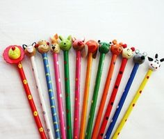 These wooden children's pencils will make all work fun. Lots of fun designs $1.50AUD http://www.sammyandlola.com.au/products/animal-pencils