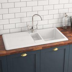RAK 1000 Gourmet bowl white ceramic sink with reversible drainer - 1 .RAK 1000 Gourmet bowl white ceramic sink with reversible drainer - 1010 x 510 mm kitchen sinkConcrete apron kitchen sink Shower Fittings, Kitchen Sink Faucets, Ceramic Sink, Ceramic Kitchen Sinks, White Ceramic Kitchen Sink, Kitchen Mixer, Kitchen Taps, Kitchen Sink Remodel, Sink