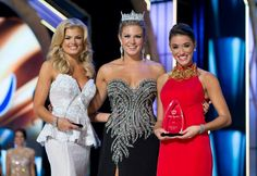 2014 Miss America Competition Thursday Preliminary Winners Miss Georgia 2013 Carly Mathis (lifestyle & fitness) and Miss Florida 2013 Myrrhanda Jones (talent) with Miss America 2013 Mallory Hagan
