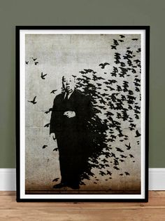 Banksy Hitchcock The Birds Movie Poster, Graffiti Street Art Print - 18x24 (Free Shipping) Vibrant, high-resolution gallery quality print reproduction of Banksy graffiti art. Details: - Beautiful top quality decorative wall artwork (unframed) - Standard large size 18x24 inches