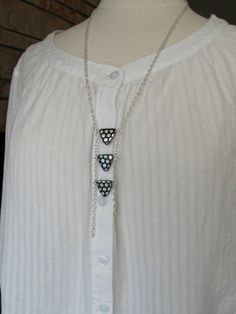Silver Necklace Modern Tribal Black and Silver Polka by mhandmade, $19.50