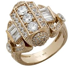 Diamonelle Sterling Silver & Gold Plate Hexagon Ring - Heirlooms for Diamonelle by Generations 1912