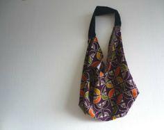 Deep purple boho bag shoulder, slouch shoulder grocery hobo bag with fan pattern wool from Japanese vintage kimono $25.00 USD