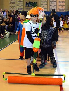Inkling Boy costume with ink roller