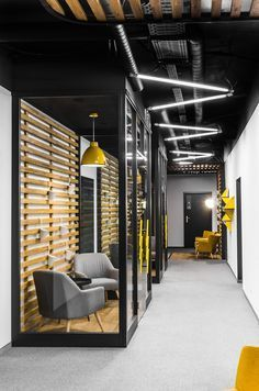 NOTE: Like the idea of these narrow 2 seat call rooms with glass walls for the huify office