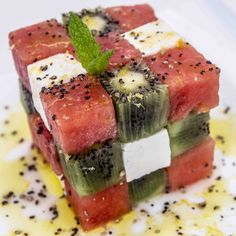Rubik Cube Watermelon and Feta Salad. Anyone can create good looking food :)