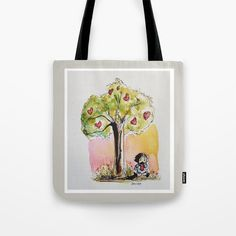 Jennloop: thrilled to get this painting on a tote! Had a bunch of happy accidents making this painting. Watercolor and ink.    #tote #totebag #society6 #art #watercolor #tree #love #shopping #bags