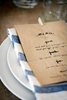diy paper bag menu--could we do a simple handwritten or stamped program on Brown Paper Bag? Too cheap or cute enough? Wedding Menu, Farm Wedding, Wedding Blog, Dream Wedding, Wedding Ideas, Wedding Tables, Wedding Reception, Wedding Foods, Wedding Dinner