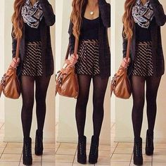 Basic skirt, cardigan, infinity scarf, sheer tights and booties